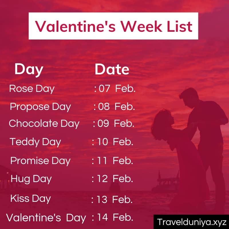Valentines Week List Image