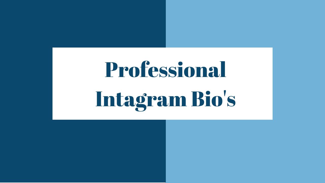 Professional Instagram Bio